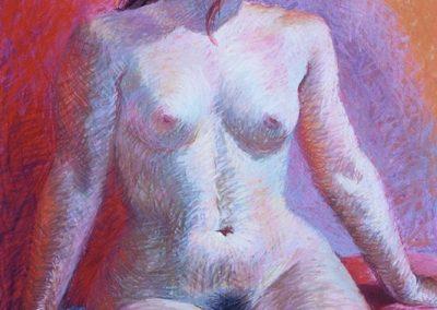 stephaniegoldmanfineart-Bordeaux Nude-Pastel-34x22