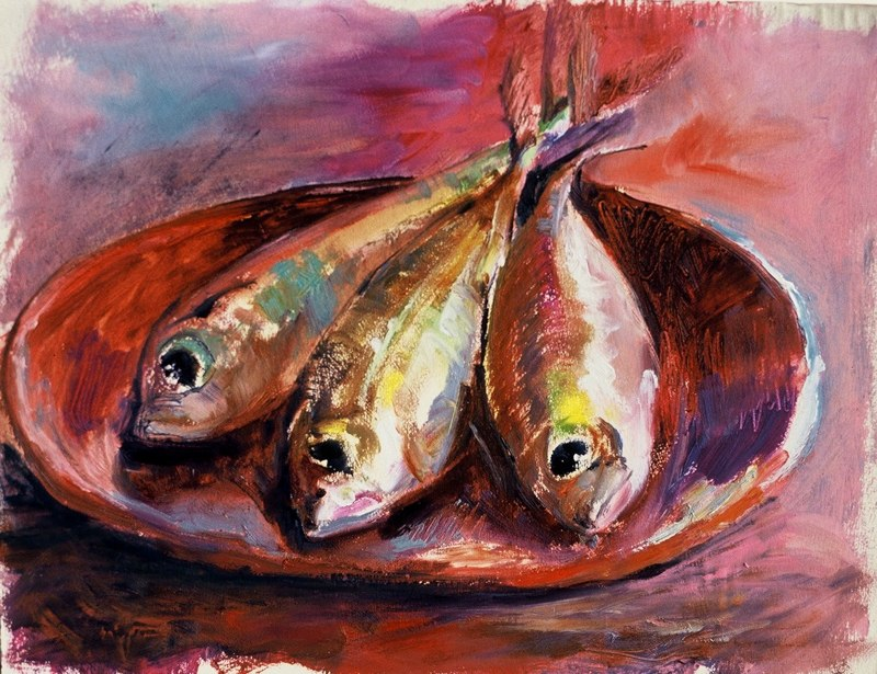 stephaniegoldmanfineart-Three-Fish-Oil-11x14-Sold