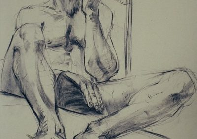 stephaniegoldmanfineart-Male On Loft-Charcoal Drawing-30x18