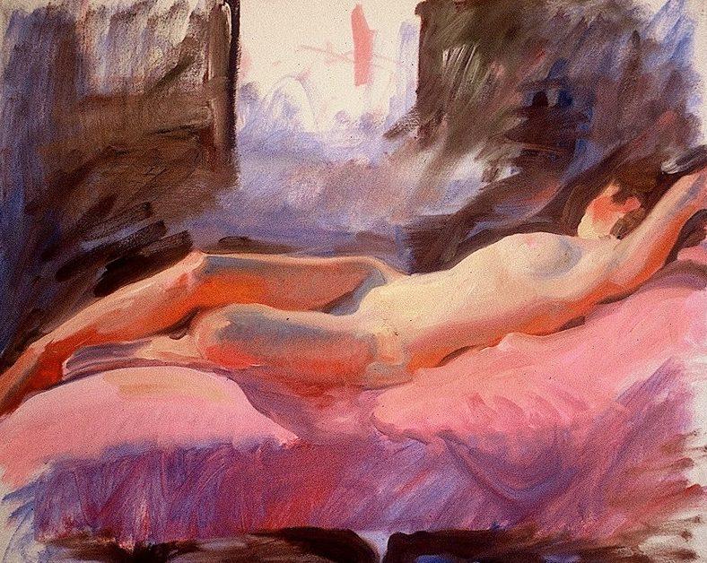 Ken Goldmanfineart-Reclining Nude-Oil-18x24 -SOLD