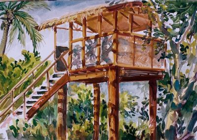 kengoldmanfineart-Tavarua Lookout-Watercolor-12x16 - SOLD