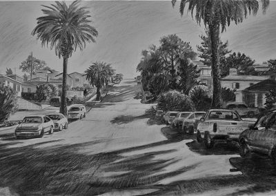 kengoldmanfineart-Narragansett Street-Charcoal Drawing-18x24