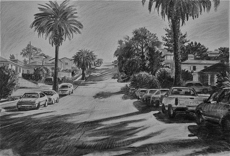 Ken_Goldman-Narragansett Street-Charcoal Drawing-18x24