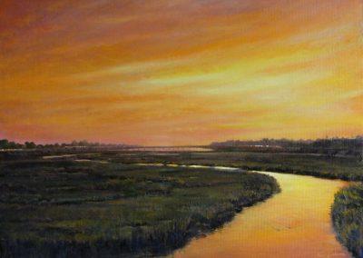 kengoldmanfineart-San Diego River Dusk-Oil-Landscape-18x24