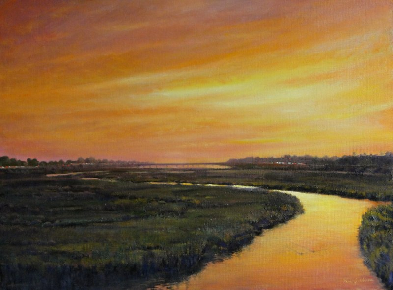 Ken-Goldmanfineart-San Diego River Dusk-Oil-Landscape-18x24