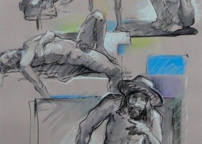 kengoldmanfineart_2-20 Minute Figure Composition 6-Ink Pastel Drawing-25x19