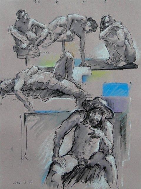 Ken_Goldman_2-20 Minute Figure Composition 6-Ink Pastel Drawing-25x19