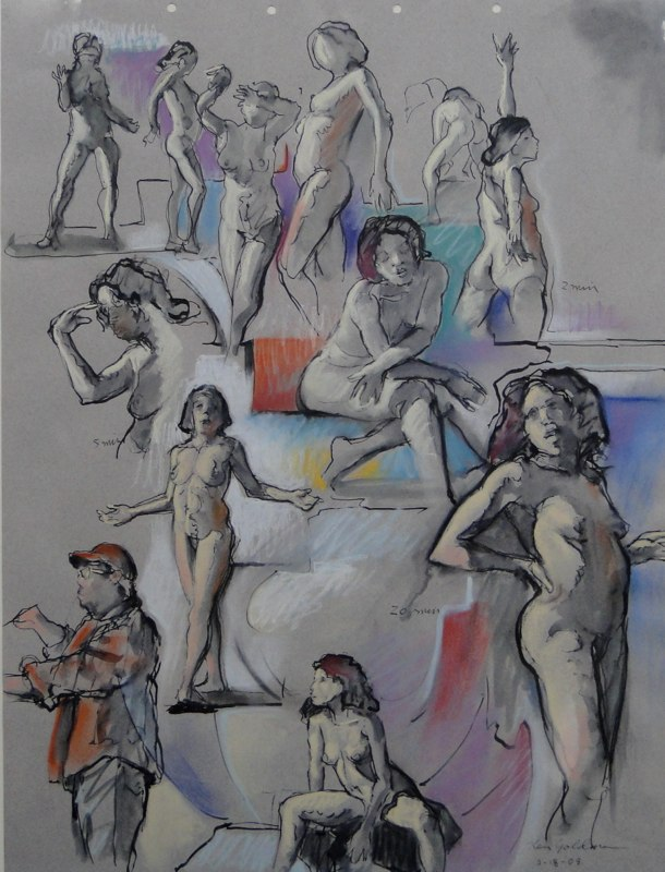 Ken_Goldman_2-20 Minute Figure Composition 5-Ink Pastel Drawing-25x19 - SOLD - Giclees Available