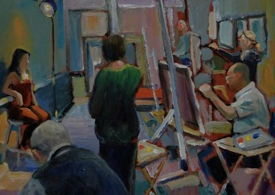 kengoldmanfineart-Artist's At Work 2-Oil-8x10