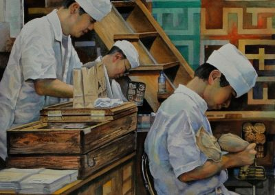 kengoldmanfineart-Tokyo Cookie Makers 2-Watercolor-22x22 - SOLD