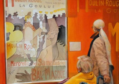 kengoldmanfineart-Picturing Lautrec-Watercolor-22x22 - SOLD - Giclees Available