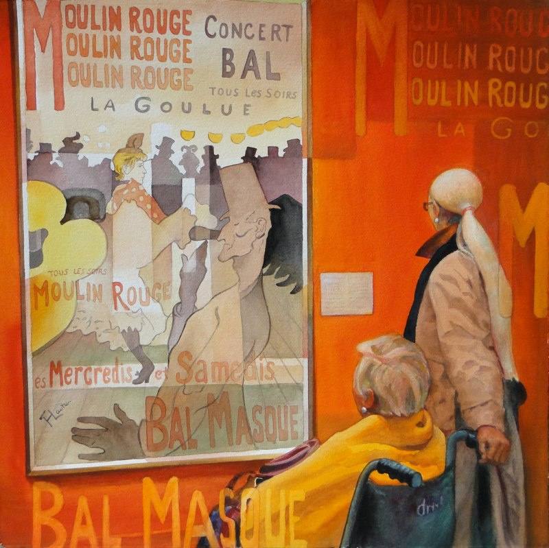 Ken Goldmanfineart_Picturing Lautrec_Watercolor_22x22 SOLD - Giclees Available