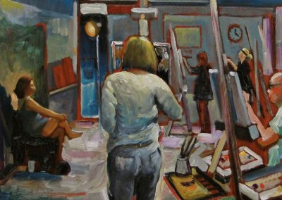 kengoldmanfineart-Artist At Work 1-Oil-18x18 -SOLD