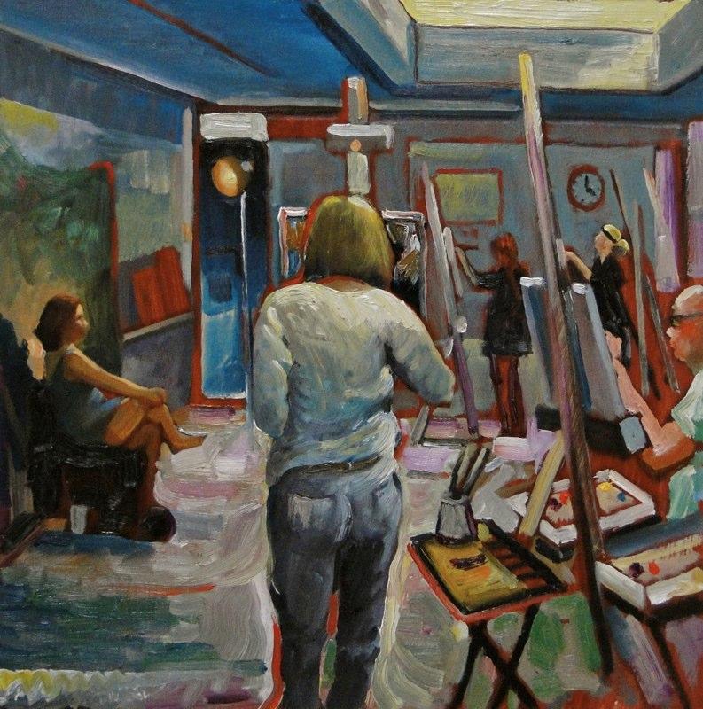 Ken_Goldmanfineart_Artists At Work 1-Oil-18x18 -Sold