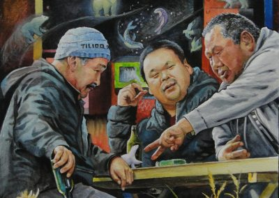 kengoldmanfineart-Inuit Tall Tales-Watercolor-22x22