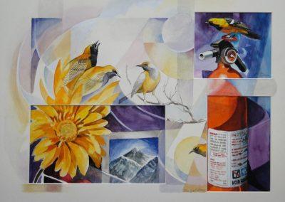 kengoldmanfineart-Oriole Montage-Watercolor-18x24