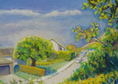 stephaniegoldmanfineart-LaCanada Birdbath-Watercolor-11x7