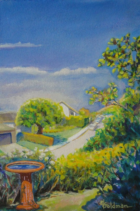 Stephanie_Goldman-LaCanada-Birdbath-Watercolor-11x7