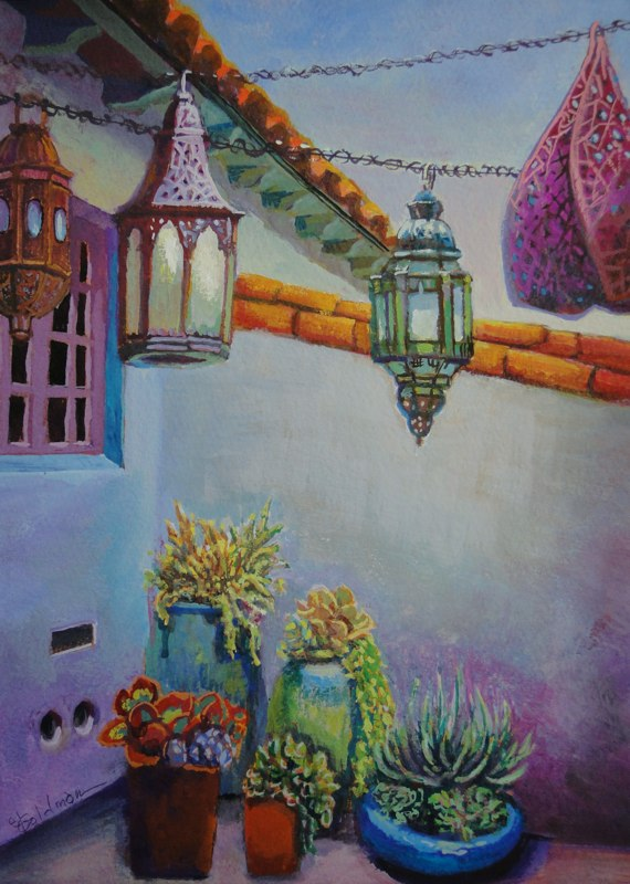 Stephanie_Goldman-LaCanada-Lantern-and-Succulents-Watercolor-11x7