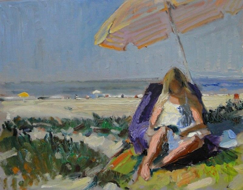 Ken Goldmanfineart_Beach Reader, Oil 11x14 Sold