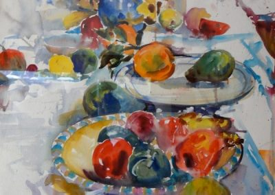 kengoldmanfineart-Fruit On A Table-Watercolor-30x22 - SOLD