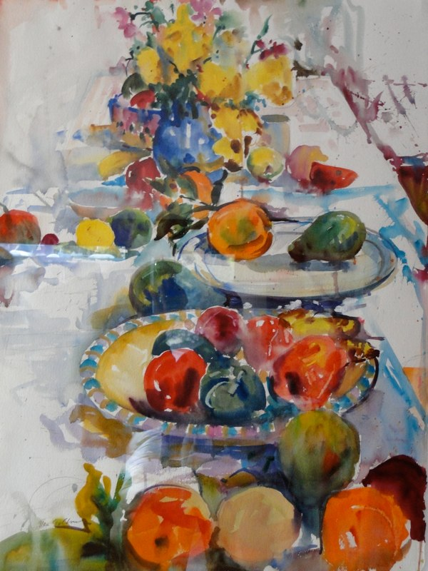 Ken Goldmanfineart_Fruit On A Table_Watercolor-30x22, SOLD