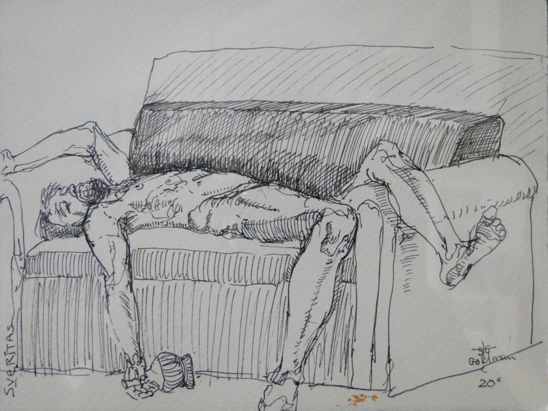 Stephanie_Goldman-Van-On-Couch-Ink-Drawing-6x8