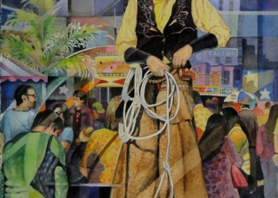 kengoldmanfineart-Stilts At The Fair-Watercolor-30x22- Giclees Available