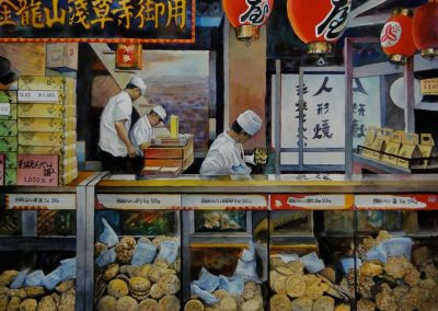 kengoldmanfineart-Tokyo Cookie Makers 1-Watercolor-22x30 - Giclees Available