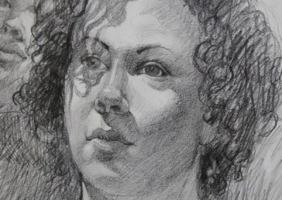 kengoldmanfineart-Head Study detail-Graphite Drawing-24x18