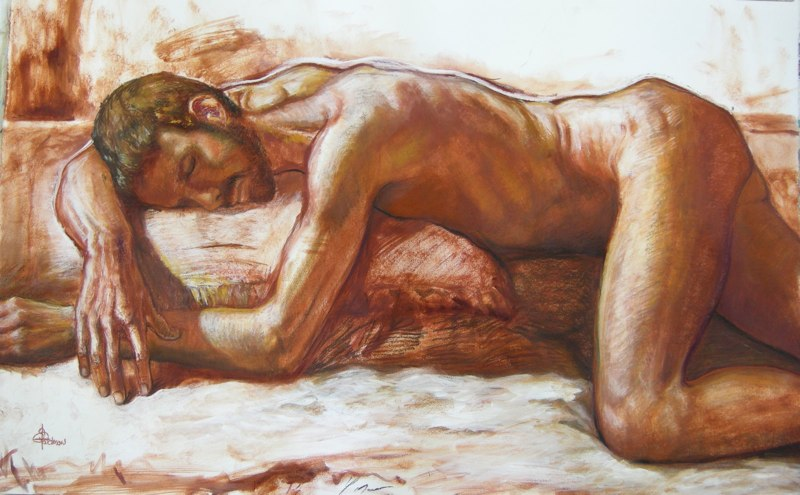 Stephanie_Goldman-Nude-Male-Sanguine-Charcoal-Drawing-25x38