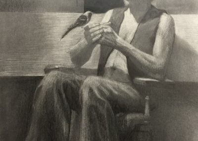stephaniegoldmanfineart-Bird In The Hand-Graphite Drawing-24x18
