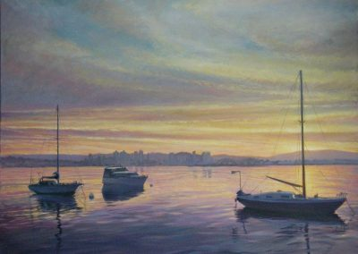 kengoldmanfineart-San Diego Harbor Dawn-Oil-Landscape-30x40 - Giclee Available