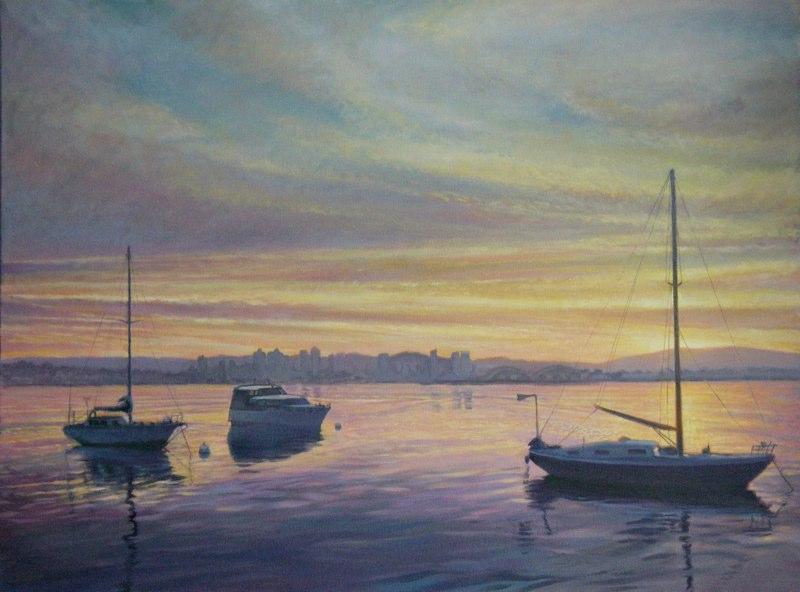 Ken-Goldman-San Diego Harbor Dawn-Oil-Landscape-30x40 - Giclee Available