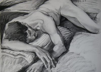 kengoldmanfineart-Resting Male Nude 2-Charcoal Drawing-38x50