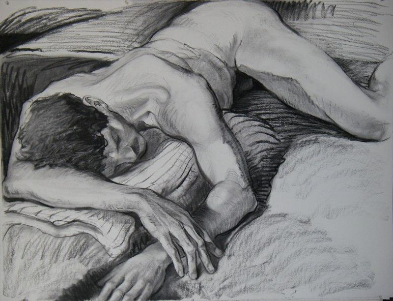 Ken_Goldman-Resting Male Nude 2-Charcoal Drawing-38x50