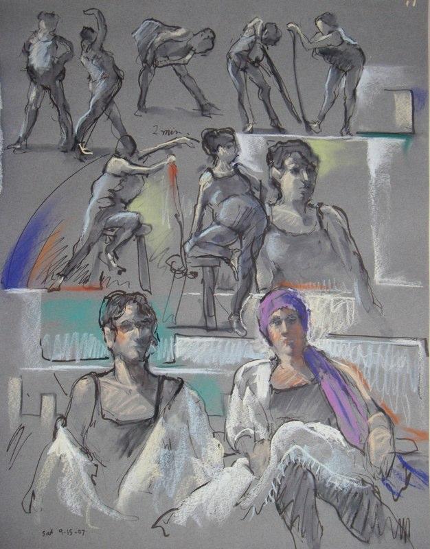 Ken_Goldman-2 - 20 Minute Figure Composition 1-Ink Pastel Drawing-25x19