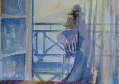Ken_Goldman-Santorini Afternoon-Pastel Figure-14x11