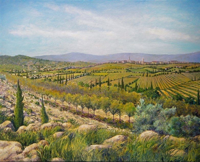 Ken_Goldman-Italian Landscape-Acrylic-48x60 - SOLD - Giclees Available