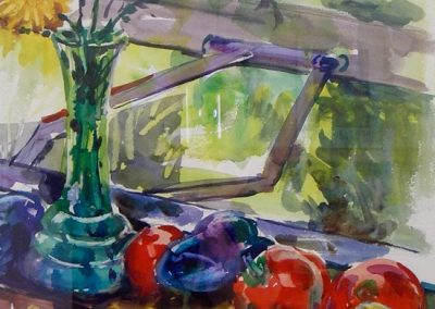 kengoldmanfineart-Fruit On A Sill-Watercolor-22x15