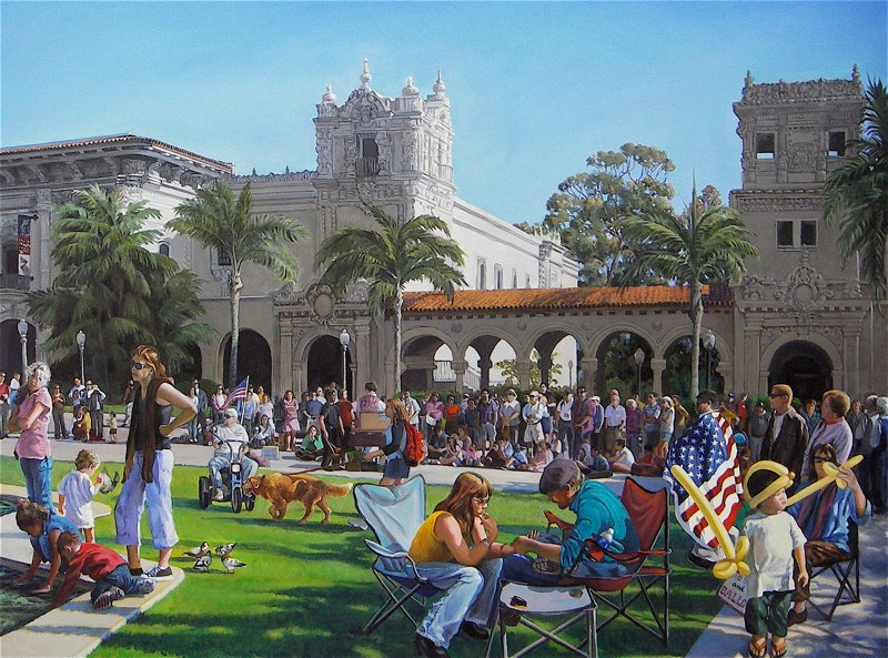 Ken Goldmanfineart-A Day At The Prado-Acrylic-Figures-48x60-SOLD