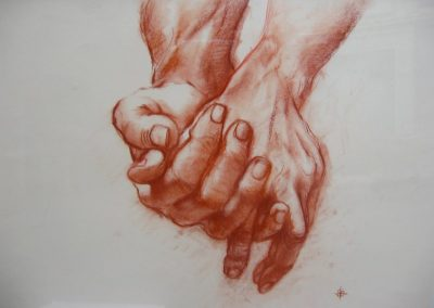 stephaniegoldmanfineart-Hands Sanguine-Charcoal Drawing-14x20