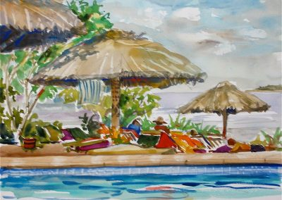 kengoldmanfineart-Pool Side Palapas-Watercolor-11x14 - SOLD