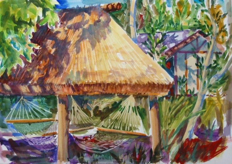 Ken_Goldman-Tavarua Hammocks-Watercolor-12x16