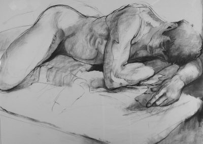 kengoldmanfineart-Resting Male Nude 1-Charcoal Drawing-38x50 - SOLD - Giclees Available