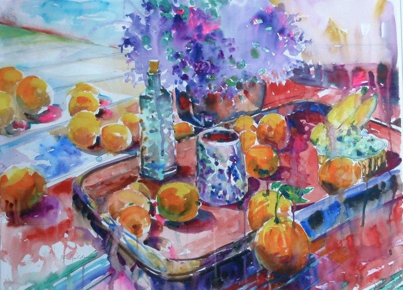 Ken Goldmanfineart_Spring Still Life-Watercolor-22x30, SOLD