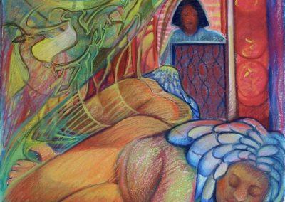 kengoldmanfineart-Santorini Dreamer-Pastel Figure-24x18