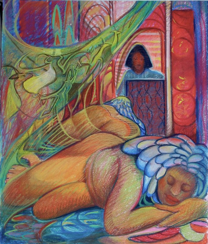 Ken_Goldman-Santorini Dreamer-Pastel Figure-24x18