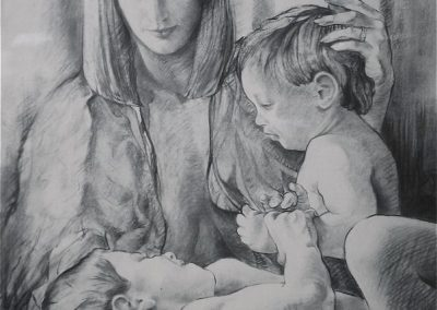 kengoldmanfineart-Kohlberg Family-Charcoal Drawing-50x38 _ SOLD