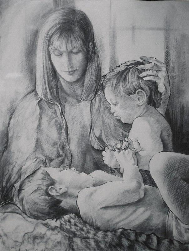 Ken_Goldman-Kohlberg Family-Charcoal Drawing-50x38 _ SOLD